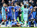 Kelechi Iheanacho of Manchester City is held back from Nathaniel Chalobah of Chelsea during the Premier League match at the Etihad Stadium, Manchester. Picture date: December 3rd, 2016. Pic Simon Bellis/Sportimage