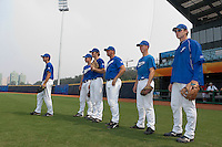 17 August 2007: Pierrick Le Mestre, Gregory Cros, Edouard Masse, Giovanni Ouin, Anthony Piquet, and Nicolas Dubaut are seen during the Good Luck Beijing International baseball tournament (olympic test event) at the Wukesong Baseball Field in Beijing, China.