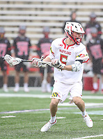 College Park, MD - April 15, 2018: Maryland Terrapins Will Snider (5) attempts a shot during game between Rutgers and Maryland at  Capital One Field at Maryland Stadium in College Park, MD.  (Photo by Elliott Brown/Media Images International)