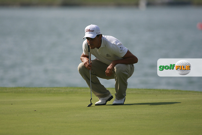 Rafael Cabrera-Bello (ESP) lines up his putt on the 1st green during Thursday's Round 1 of the Austrian Open presented by Lyoness at the Diamond Country Club, Atzenbrugg, Austria, 22nd September 2011 (Photo Eoin Clarke/www.golffile.ie)