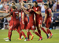 Sandy, UT - Saturday June 3, 2017: The U.S. Men's National team and Venezuela are all square 1-1 from a goal by Christian Pulisic during an international friendly tune up match leading up to their WCQ Hex games at Rio Tinto Stadium.