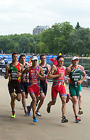 31 MAY 2014 - LONDON, GBR - Mario Mola (ESP) (third from the left) and Javier Gomez (ESP) (second from the right) of Spain, and Richard Murray (RSA) (right) of South Africa leads the front pack including Joao Pereira (POR) (left) of Portugal , Jonathan Brownlee (second from the left) and Alistair Brownlee (GBR) (thrid from the right) of Great Britain, during the run at the men's 2014 ITU World Triathlon Series round in Hyde Park, London, Great Britain (PHOTO COPYRIGHT © 2014 NIGEL FARROW, ALL RIGHTS RESERVED)