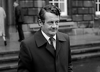 Des O&rsquo;Malley, TD, Fianna Fail, Rep of Ireland, opposition spokesman on energy, arriving Leinster House for the opening of the Irish Parliament. December, 1982, 198212000282DOM4<br /><br />Copyright Image from Victor Patterson, 54 Dorchester Park, <br />Belfast, UK, BT9 6RJ<br /><br />t1: +44 28 9066 1296 (from Rep of Ireland 048 9066 1296)<br />t2: +44 28 9002 2446 (from Rep of Ireland 048 9002 2446)<br />m: +44 7802 353836<br /><br />victorpatterson@me.com<br />www.victorpatterson.com<br /><br />Please see my Terms and Conditions of Use at VICTORPATTERSON.COM. It is IMPORTANT that you familiarise yourself with them.<br /><br />Images used on the Internet must be visibly watermarked i.e. &copy;VICTORPATTERSON.COM within the body of the image and copyright metadata must not be deleted. Images used on the Internet have a size restriction of 4kbs and are chargeable at the then current NUJ rates.<br /><br />This image is only available for the use of the download recipient i.e. television station, newspaper, magazine, book publisher, etc, and must not be passed on to any third party. It is also downloaded on condition that each and every usage is notified within 7 days to victorpatterson@me.com<br /><br />The right of Victor Patterson to be identified as the author is asserted in accordance with The Copyright Designs And Patents Act (1988).