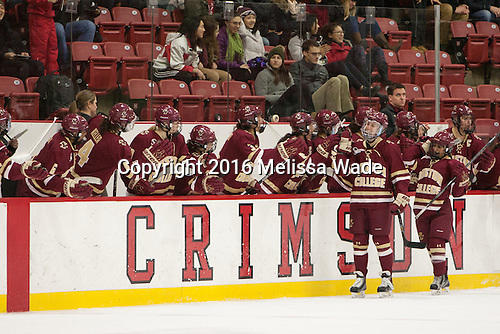The Eagles celebrate Meghan Grieves's (BC - 17) second goal. - The visiting Boston College Eagles defeated the Harvard University Crimson 2-0 on Tuesday, January 19, 2016, at Bright-Landry Hockey Center in Boston, Massachusetts.