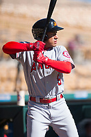 Mesa Solar Sox second baseman Jahmai Jones (9), of the Los Angeles Angels organization, warms up before an Arizona Fall League game against the Glendale Desert Dogs at Camelback Ranch on November 12, 2018 in Glendale, Arizona. Glendale defeated Mesa 4-2. (Zachary Lucy/Four Seam Images)