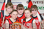 St Mary's mascots at St Mary's Basketball blitz in Castleisland on Thursday l-r: Aoife O'Connor, Nicola Downey, Ella Kerin, Laura Fleming and Shauna Ahern