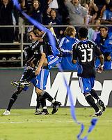 Arturo Alvarez (17) jumps on Ronnie O'Brien's (7) back to celebrate his goal in the 50th minute.San Jose Earthquakes tied Houston Dynamo 1-1 at Buck Shaw Stadium in Santa Clara, California. September 13, 2008.