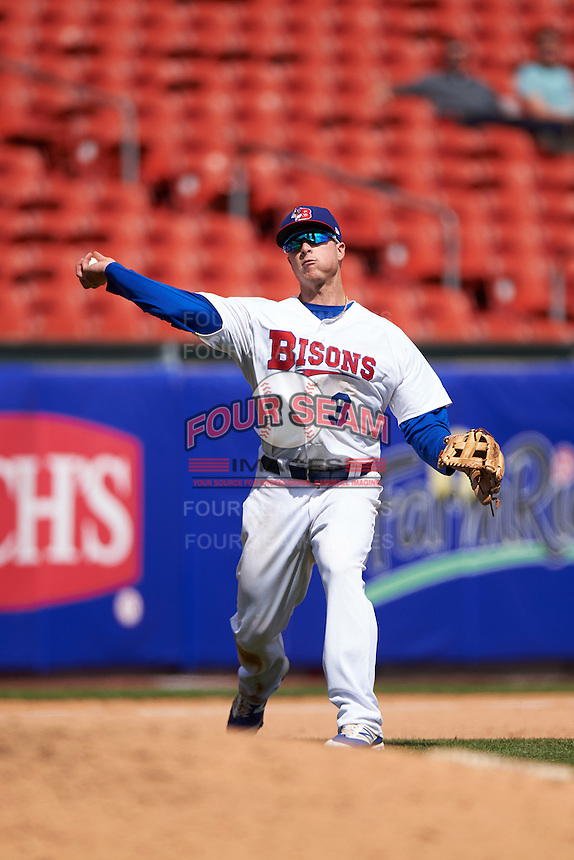 Buffalo Bisons Matt Dominguez (3) during a game against the Toledo Mudhens on May 18, 2016 at Coca-Cola Field in Buffalo, New York.  Buffalo defeated Toledo 7-5.  (Mike Janes/Four Seam Images)