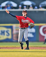 Mississippi Braves shortstop Dansby Swanson (5) warms up between innings during a game against the Tennessee Smokies at Smokies Stadium on May 7, 2016 in Kodak, Tennessee. The Smokies defeated the Braves 5-3. (Tony Farlow/Four Seam Images)
