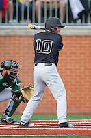 Nate Mondou (10) of the Wake Forest Demon Deacons at bat against the Charlotte 49ers at Hayes Stadium on March 16, 2016 in Charlotte, North Carolina.  The 49ers defeated the Demon Deacons 7-6.  (Brian Westerholt/Four Seam Images)