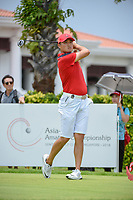 Zheng Kai BAI (CHN) watches his tee shot on 12 during Rd 4 of the Asia-Pacific Amateur Championship, Sentosa Golf Club, Singapore. 10/7/2018.<br /> Picture: Golffile | Ken Murray<br /> <br /> <br /> All photo usage must carry mandatory copyright credit (&copy; Golffile | Ken Murray)