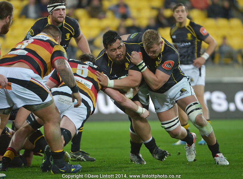 Eric Sione takes the ball up during the ITM Cup rugby union match between Wellington Lions and Waikato at Westpac Stadium, Wellington, New Zealand on Saturday, 16 August 2014. Photo: Dave Lintott / lintottphoto.co.nz