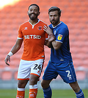 Blackpool's Liam Feeney closely marked by Rochdale's Joe Rafferty as they jostle for position for a corner kick<br /> <br /> Photographer Stephen White/CameraSport<br /> <br /> The EFL Sky Bet League One - Blackpool v Rochdale - Saturday 6th October 2018 - Bloomfield Road - Blackpool<br /> <br /> World Copyright © 2018 CameraSport. All rights reserved. 43 Linden Ave. Countesthorpe. Leicester. England. LE8 5PG - Tel: +44 (0) 116 277 4147 - admin@camerasport.com - www.camerasport.com