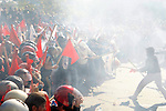 Clashes have broken between Anarchists and the Communists. Greek unions protest for second day against a new round of austerity measures outside the Greek parliament.