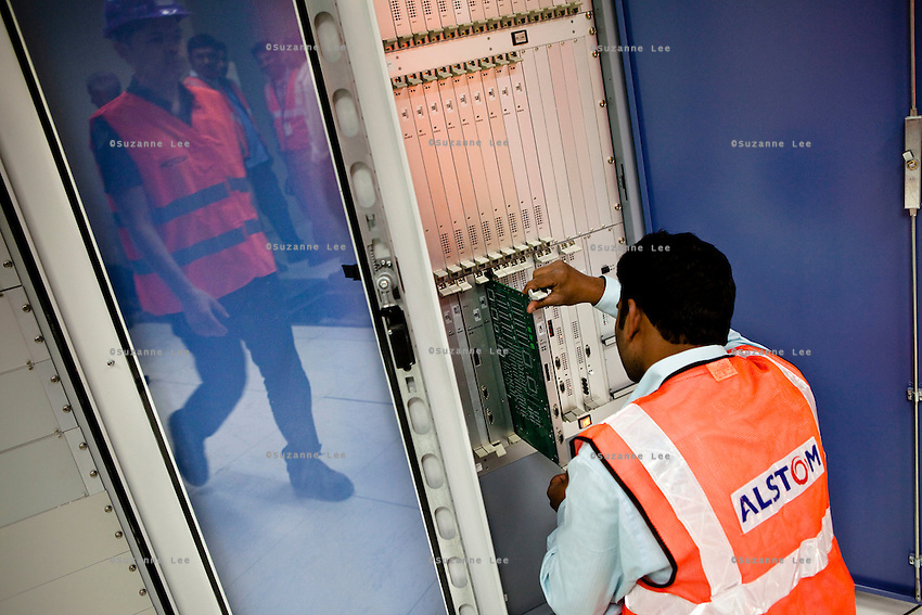 An employee works on ALSTOM's ASCV in the Signalling Equipment Room (SER) at the depot and primary station, Baiyappanahalli, in Bangalore, Karnataka, India on 10th March 2011..Photo by Suzanne Lee/Abaca Press