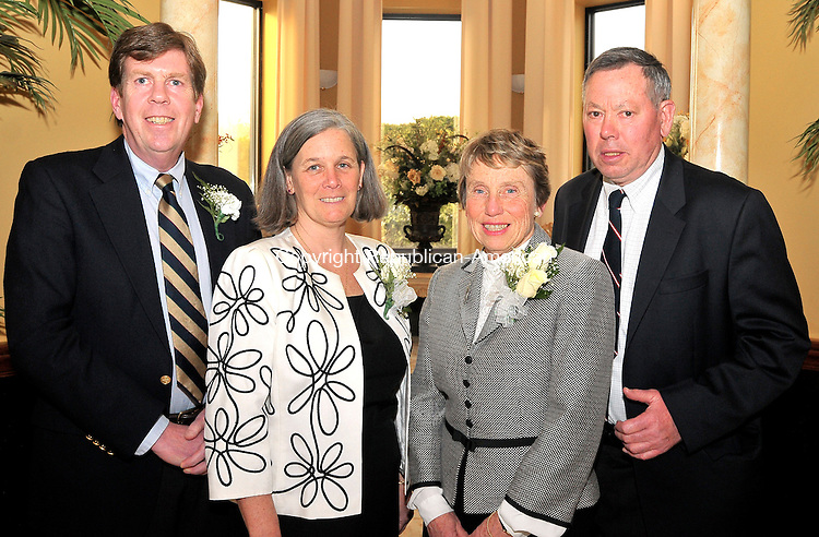 WATERBURY, CT-03 APRIL 2009 --040309JS12--Michael and Gail Moriarty of  with Ingrid and Jack Manning at the Bells of Saint Mary Award dinner Thursday, April 2, at the Ponte Club in Waterbury. The Moriarty's, former Satin Mary School parents, were awarded with the Rev. John J. Bevine Guardian Angel Award while Ingrid Manning, director of the Connecticut Community Foundation, was awarded with the Rev. John P. Blanchfield Community Service Award.<br /> Jim Shannon Republican-American