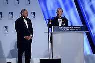 """Washington, DC - October 2, 2014:  Rep. Ruben Hinojosa (D-TX) and Senator Robert """"Bob"""" Menendez (D-NJ) (left) introduce President Barack Obama at the Congressional Hispanic Caucus Institute's annual Awards Gala at the Washington Convention Center in the District of Columbia, October 2, 2014.  (Photo by Don Baxter/Media Images International)"""