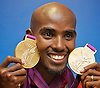 Mo Farah<br /> Athletics <br /> Double Gold medalist in the Olympic Games  London 2012 in Men's 5,000m and 10,000m<br /> <br /> Press Conference, Team GB House, Stratford, London, Great Britain <br /> <br /> Mo Farah <br /> <br /> Photograph by Elliott Franks