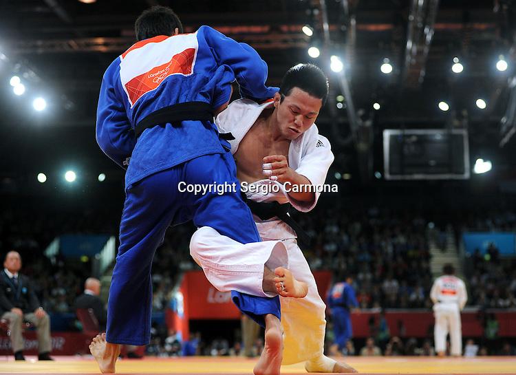 Olympic Games 2012; Judo - ExCel North Arena 2; men's 73kg. Ki-Chun Wang (KOR) vs. Rinat Ibragimov (KAZ)