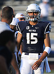 Nevada quarterback Tyler Stewart warms up before an NCAA college football game against UC Davis in Reno, Nev. on Thursday, Sept. 3, 2015. (AP Photo/Cathleen Allison)