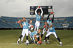 August 12, 2008 - Jacksonville, FL USA..X80919: NFL Football - Jacksonville Jaguars - Wide receivers...80 Jerry Porter , 18 Matt Jones, 86 Dennis Northcutt, .81 Mike Walker, 11 Reggie Williams , 84 Troy Williamson pose inside Alltel Stadium. ..Photo by Preston Mack..