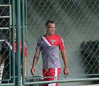 SÃO PAULO.SP.26.08.2014 - TREINO SÃO PAULO  - Luis Fabiano durante o treino do São Paulo F.C na manha desta terça-feira 26 no CT da Barra Funda região oeste.  ( Foto: Bruno Ulivieri / Brazil Photo Press )
