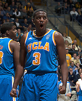 Jordan Adams of UCLA celebrates after scoring during the game against California at Haas Pavilion in Berkeley, California on February 19th, 2014.  UCLA defeated California, 86-66.