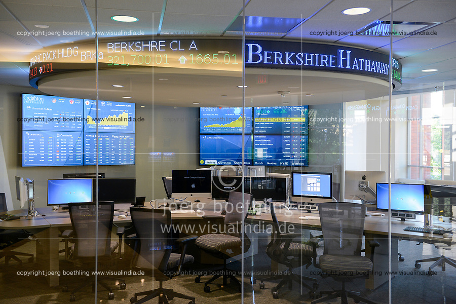USA, Nebraska, Omaha, Creighton University, Heider College of Business, computer room, on display stock exchange share prices of Berkshire Hathaway Inc., the holding enterprise of Warren Buffet