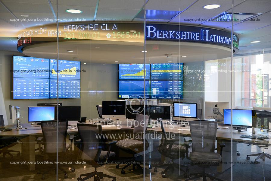 USA, Nebraska, Omaha, Creighton University, Heider College of Business, computer room, on display stock exchange share prices of Berkshire Hathaway Inc., the holding enterprise of Warren Buffet