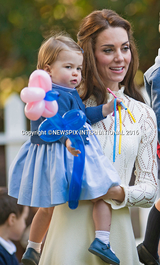 PRINCESS CHARLOTTE<br /> The daughter of the Duke and Duchess of Cambridge will be 2-years-old on the 2nd of May 2017.<br /> These images are a retrospective from birth to the present, showing the Princess on the rare public appearances.<br /> <br /> 29.09.2016; Victoria, Canada: PRINCE GEORGE AND PRINCESS CHARLOTTE<br /> attend children&iacute;s party for military families, Government House, Victoria<br /> Prince George and Princess Charlotte are accompaning their parents the Duke and Duchess of Cambridge on their tour of Canada.<br /> Mandatory Photo Credit: &copy;Francis Dias/NEWSPIX INTERNATIONAL<br /> <br /> IMMEDIATE CONFIRMATION OF USAGE REQUIRED:<br /> Newspix International, 31 Chinnery Hill, Bishop's Stortford, ENGLAND CM23 3PS<br /> Tel:+441279 324672  ; Fax: +441279656877<br /> Mobile:  07775681153<br /> e-mail: info@newspixinternational.co.uk<br /> Usage Implies Acceptance of Our Terms &amp; Conditions<br /> Please refer to usage terms. All Fees Payable To Newspix International