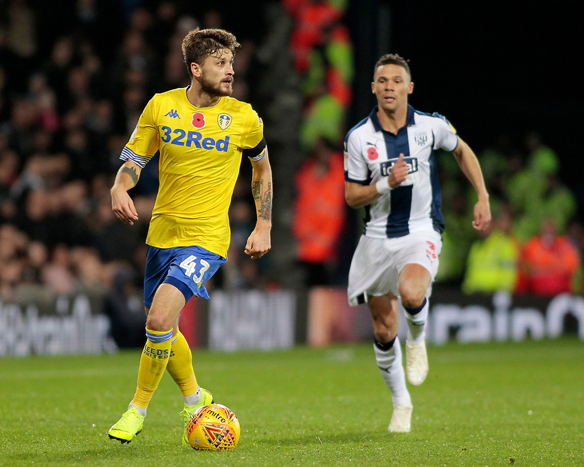 Leeds United's Mateusz Klich gets away from West Bromwich Albion's Kieran Gibbs<br /> <br /> Photographer David Shipman/CameraSport<br /> <br /> The EFL Sky Bet Championship - West Bromwich Albion v Leeds United - Saturday 10th November 2018 - The Hawthorns - West Bromwich<br /> <br /> World Copyright © 2018 CameraSport. All rights reserved. 43 Linden Ave. Countesthorpe. Leicester. England. LE8 5PG - Tel: +44 (0) 116 277 4147 - admin@camerasport.com - www.camerasport.com