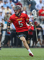 Baltimore, MD - April 28, 2018: Maryland Terrapins Will Snider (5) in action during game between John Hopkins and Maryland at  Homewood Field in Baltimore, MD.  (Photo by Elliott Brown/Media Images International)