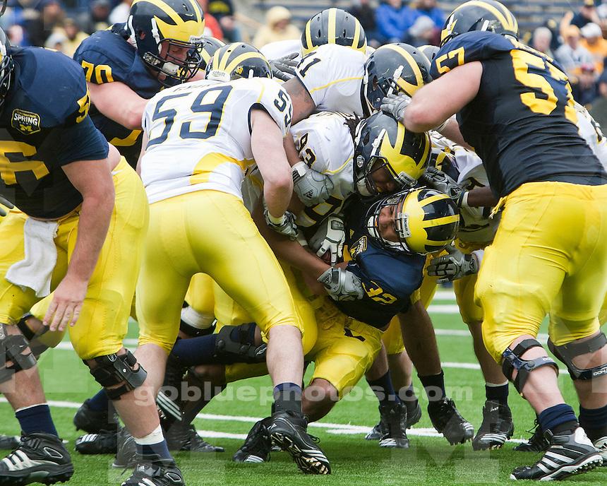 The 2011 Mott Spring Game featuring the University of Michigan football team and alumni at Michigan Stadium in Ann Arbor, MI, on April 16, 2011.