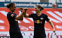 24th May 2020, Opel Arena, Mainz, Rhineland-Palatinate, Germany; Bundesliga football; Mainz 05 versus RB Leipzig; Yussuf Poulsen (RB Leipzig), Marcel Sabitzer (RB Leipzig) celebrate the goal for 0:3