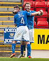 St Johnstone's Steven May celebrates with Patrick Cregg after he scores their second goal.