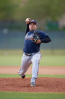 Atlanta Braves pitcher Daysbel Hernandez (11) delivers a pitch during an Instructional League game against the Philadelphia Phillies on October 9, 2017 at the Carpenter Complex in Clearwater, Florida.  (Mike Janes/Four Seam Images)