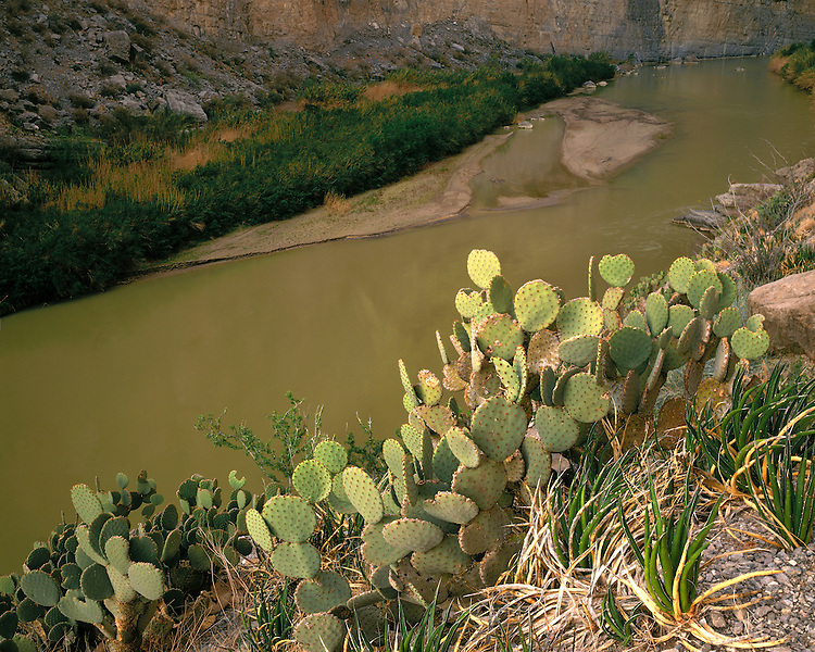 View of the Rio Grande River in Santa Elena Canyon; Big Bend National Park, TX
