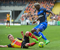 20170415 - LENS , FRANCE : Lens' Benjamin Bourigeaud (L) and Auxerre's Mohamed Lamine Yattara (R) pictured during the soccer match between Racing Club de LENS and AJ Auxerre , on the thirty third matchday in the French Dominos pizza Ligue 2 at the Stade Bollaert Delelis stadium , Lens . Saturday 15 April 2017 . PHOTO DIRK VUYLSTEKE | SPORTPIX.BE