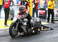 Mar 20, 2016; Gainesville, FL, USA; NHRA pro stock motorcycle rider Eddie Krawiec during the Gatornationals at Auto Plus Raceway at Gainesville. Mandatory Credit: Mark J. Rebilas-USA TODAY Sports