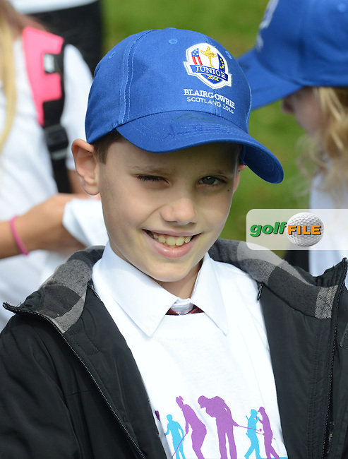 A Young golf fan looks on during the Junior Ryder Cup at the Blairgowrie Golf Club on 23rd September 2014.<br /> Picture Richard Martin-Roberts www.golffile.ie
