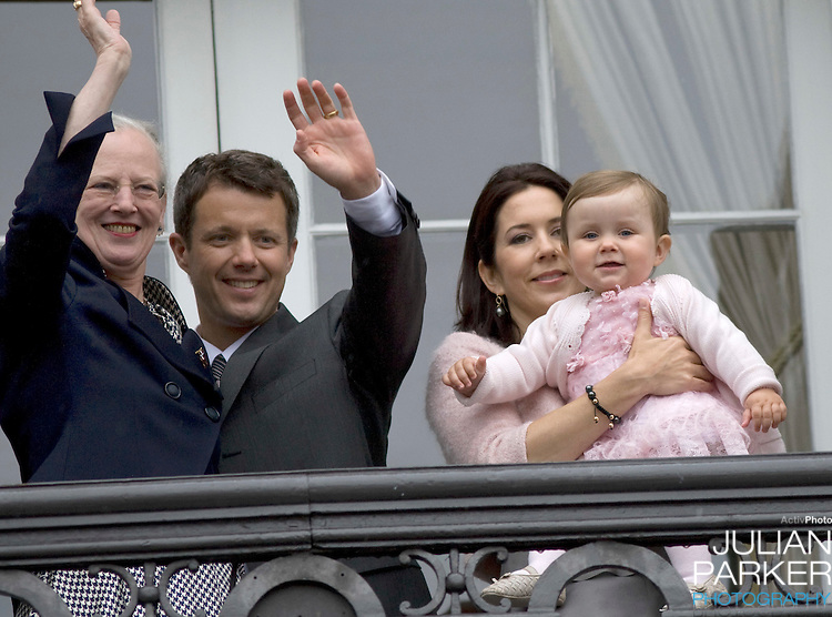 Crown Prince Frederik with Crown Princess Mary with their daughter Princess Isabella (age 1) are joind by Queen Margrethe at Amalienborg palace in Copenhagen for Prince Frederik's 40th birthday celebrations.