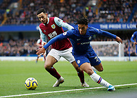 11th January 2020; Stamford Bridge, London, England; English Premier League Football, Chelsea versus Burnley; Jeff Hendrick of Burnley challenges Reece James of Chelsea - Strictly Editorial Use Only. No use with unauthorized audio, video, data, fixture lists, club/league logos or 'live' services. Online in-match use limited to 120 images, no video emulation. No use in betting, games or single club/league/player publications