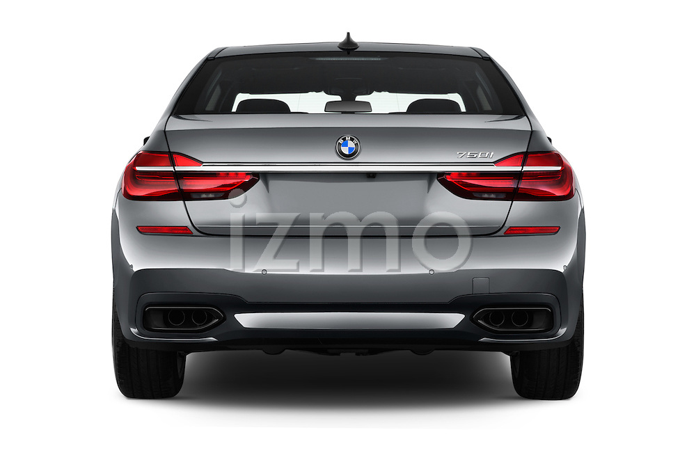 Straight rear view of 2016 BMW 7 Series 4 Door Sedan Rear View  stock images