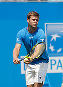 June 19th 2017, Queens Club, West Kensington, London; Aegon Tennis Championships, Day 1; Ryan Harrison (USA) prepares to serve during his first round singles match against number six seed Grigor Dimitrov (BUL)
