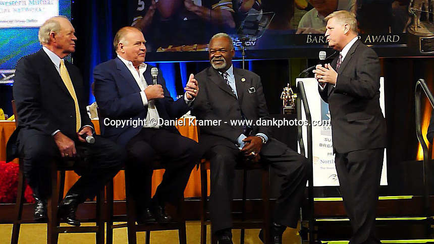 From left: Donny Anderson, Jerry Kramer and unidentified member of the 1967 Dallas Cowboys and ESPN's  Chris Mortensen discuss the final drive of the Ice Bowl during the Super Bowl Breakfast event at Super Bowl 45 on January 28, 2012.