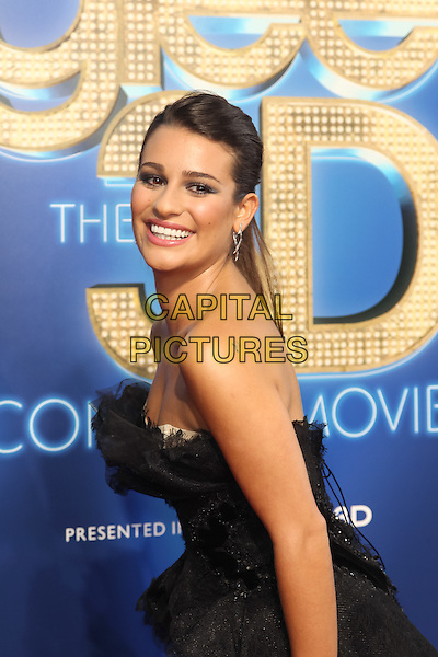 LEA MICHELE.The 20th Century Fox 'Glee 3D' Concert World Movie Premiere held at The Regency Village theatre in Westwood, California, USA,.August 6th 2011..half length dress strapless black hair up tulle lace tiered ruffles smiling .CAP/CEL.©CEL/Capital Pictures