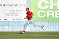 Lakewood BlueClaws center fielder Mickey Moniak (22) during a game against the Asheville Tourists at McCormick Field on June 2, 2017 in Asheville, North Carolina. The Tourists defeated the BlueClaws 7-5. (Tony Farlow/Four Seam Images)