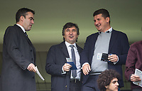 A happy looking Watford Owner Gino Pozzo (centre) with CEO Scott Duxbury (left) during the Premier League match between Chelsea and Watford at Stamford Bridge, London, England on 21 October 2017. Photo by Andy Rowland.