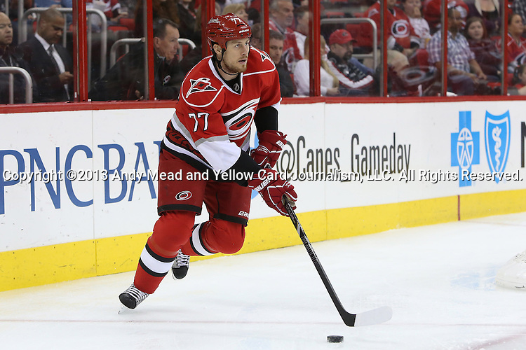 23 April 2013: Carolina's Joe Corvo. The Carolina Hurricanes played the New York Islanders at the PNC Arena in Raleigh, North Carolina in a 2012-2013 National Hockey League regular season game. The Carolina Hurricanes won the game 4-3 after overtime and winning the shootout 2-0.