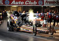 Nov 14, 2010; Pomona, CA, USA; NHRA nostalgia top fuel dragster driver Adam Sorokin during the Auto Club Finals at Auto Club Raceway at Pomona. Mandatory Credit: Mark J. Rebilas-